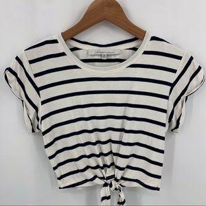 Lovers + Friends Tops - Lovers + Friends navy blue stripe crop tie front